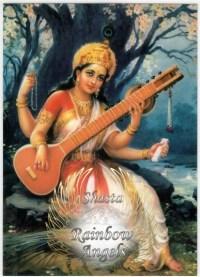 Saraswati (SA1) - 5X7 Laminated Altar Card | Shasta Rainbow Angels