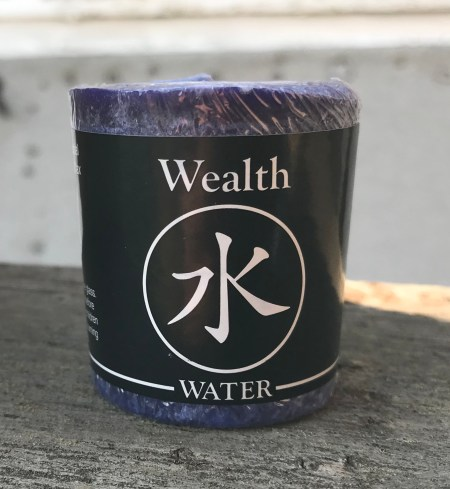 Feng Shui Water Wealth Earth 100% Essential Oil Votive Candle | Shasta Rainbow Angels
