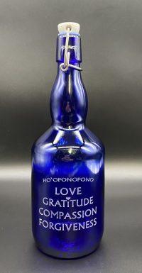 Ho'oponopono Love Gratitue, Compassion Forgiveness Blue Bottle Love 27oz Water Bottle | Shasta Rainbow Angels