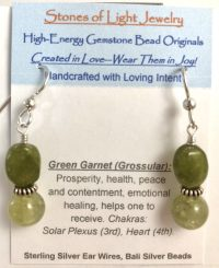 Green Garnet (Grossular) Sterling Silver Ear Wire Earrings | Shasta Rainbow Angels