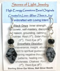 Black Onyx & Snowflake Obsidian Sterling Silver Ear Wire Earrings | Shasta Rainbow Angels