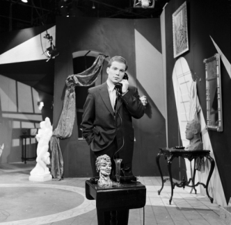 "William Shatner on the phone. On the set of ""Forever Galatea."""