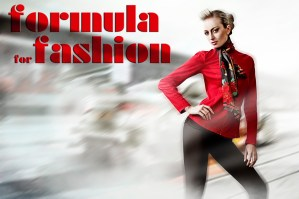 fashion model in red jacket