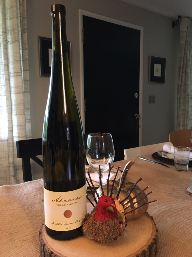 Robert Sinskey Vineyards Abraxas which is a blend of Riesling, Pinot Gris, Pinot Blanc, Gewürztraminer.