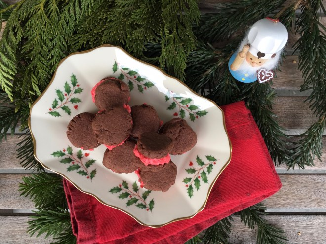 Cocoa Candy Cane Sandwich Cookies