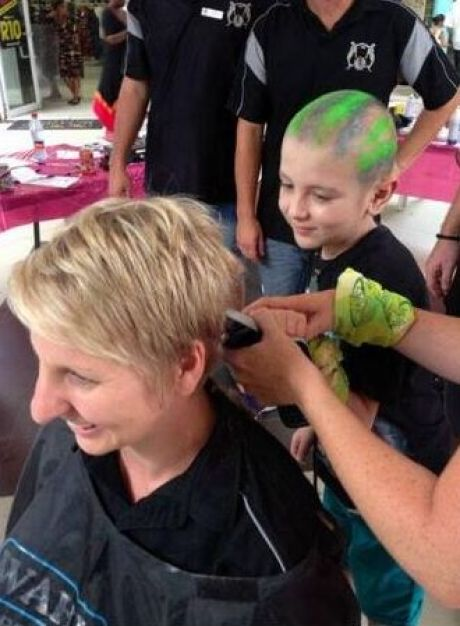 Josh cancer survivor shaving at Scottburgh