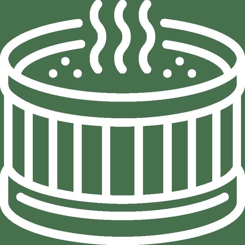Luxury wood fired hot tub