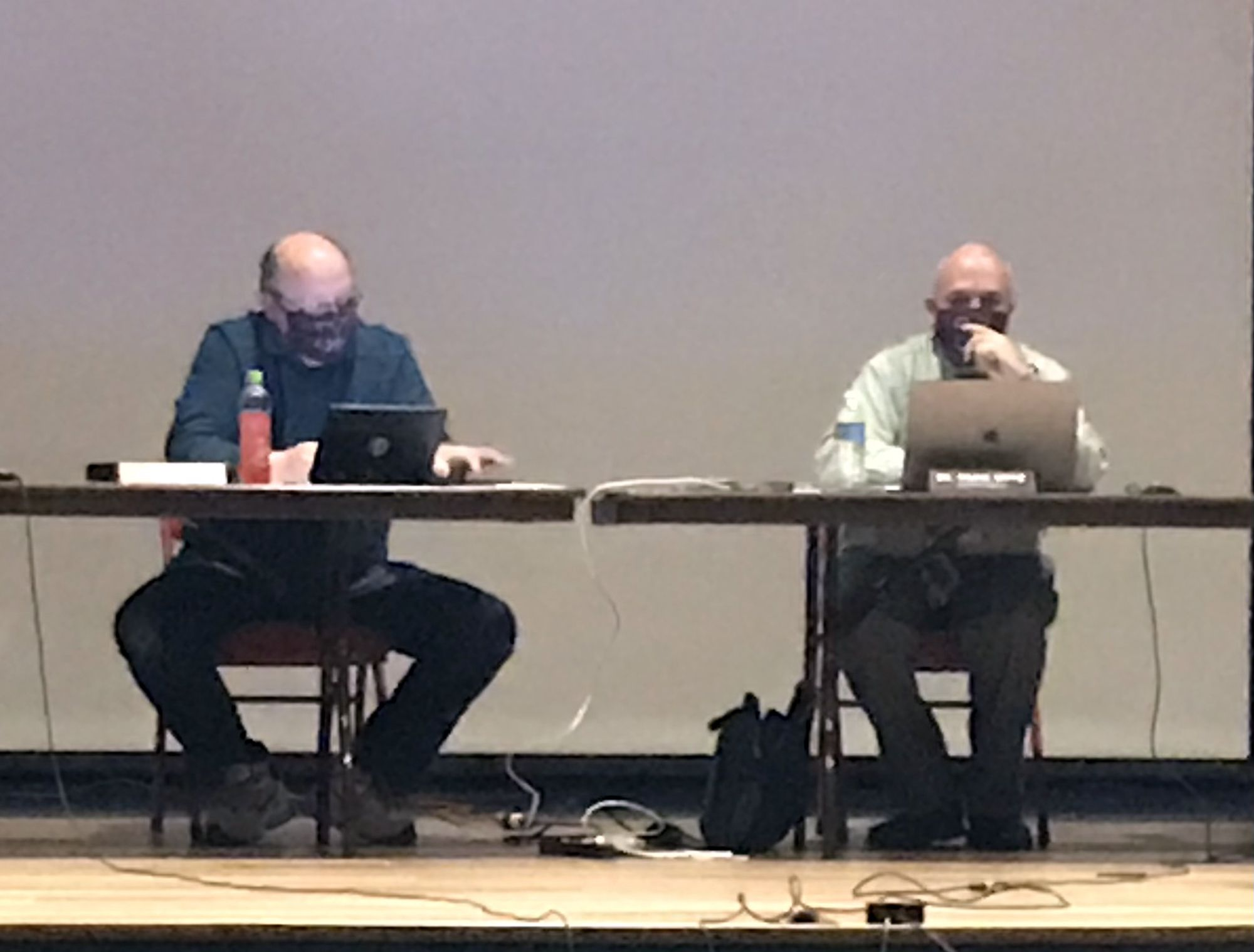 Morris Community High School District 101 Board President Scott Hastings (left) and Superintendent Craig Ortiz heard arguments Monday why the board should vote to change the school mascot.