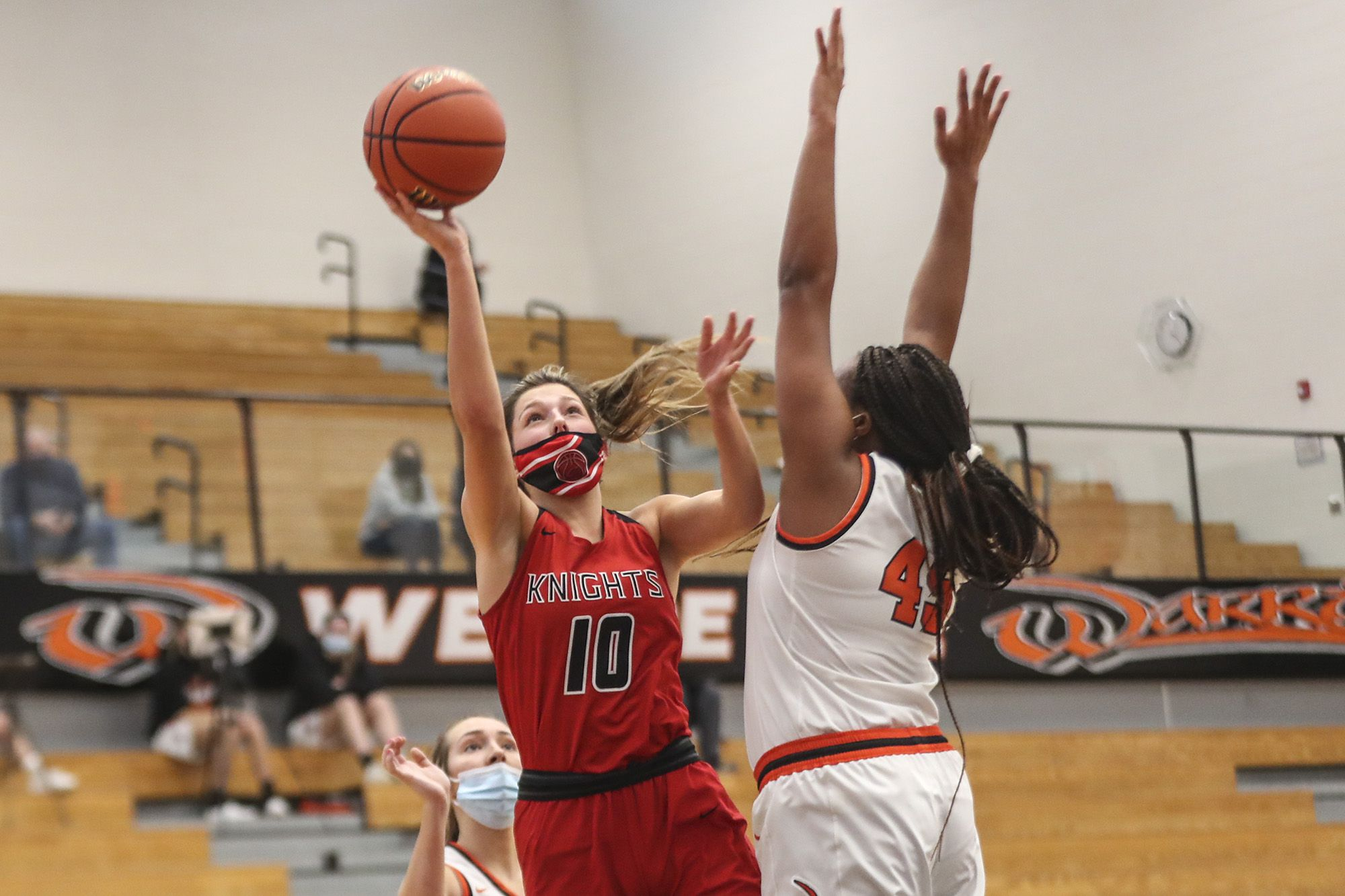 Lincoln-Way Central's Haley Stoklosa makes a basket in traffic on Monday, March 1, 2021, at Lincoln-Way West High School in New Lenox, Ill.