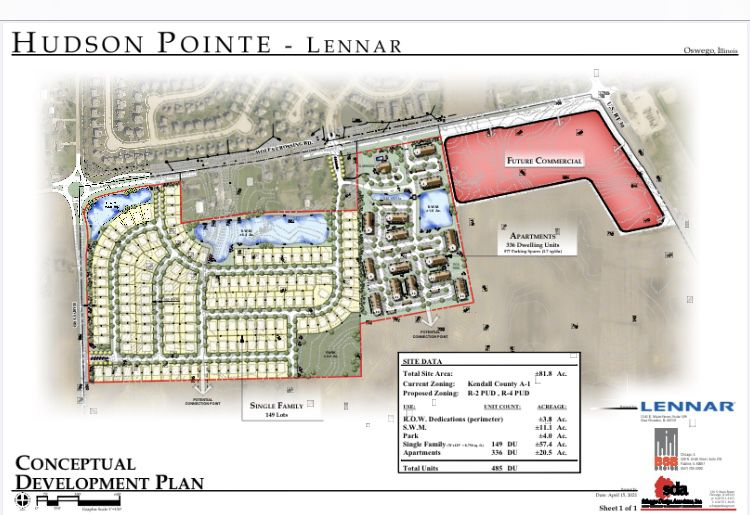 The concept plan for the proposed Hudson Pointe subdivision shows locations for single family home lots and apartments on the 80 acre parcel near the southwest corner of Wolf's Crossing Road and Route 30 in Oswego.