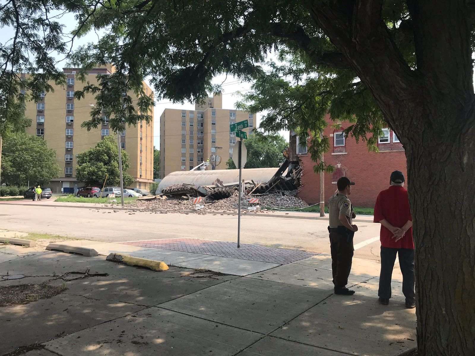 La Salle police and firefighters cordoned off Tonti Street between First and Second streets Monday, July 19, 2021, to protect the public after a building partially collapsed.