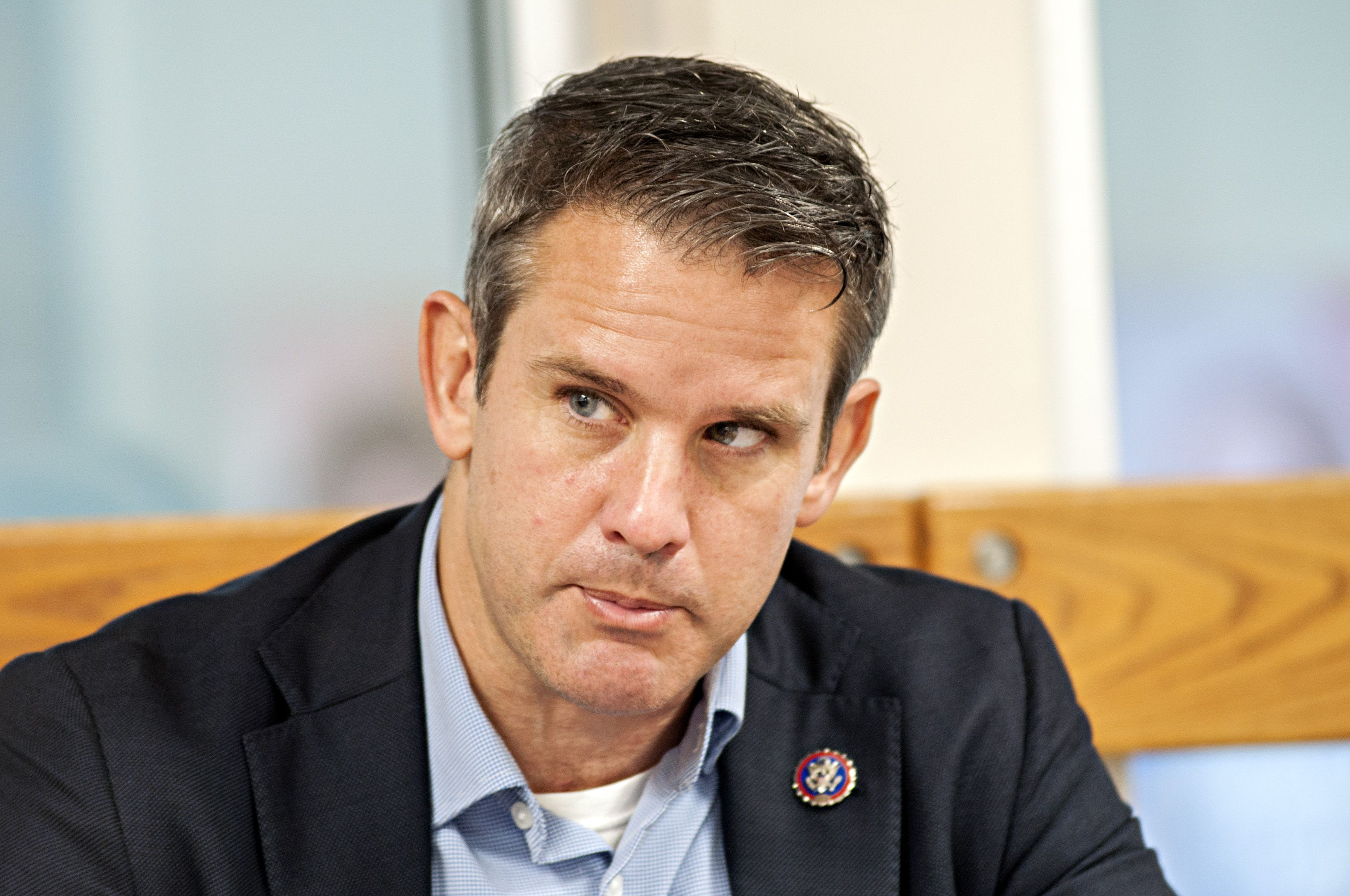 In a file photograph, U.S. Rep. Adam Kinzinger speaks to the press following a tour of the Dixon YMCA. On Tuesday Kinzinger sent a request to President Joe Biden on the matter of the imminent closure of the Byron and Dresden nuclear generating plants.