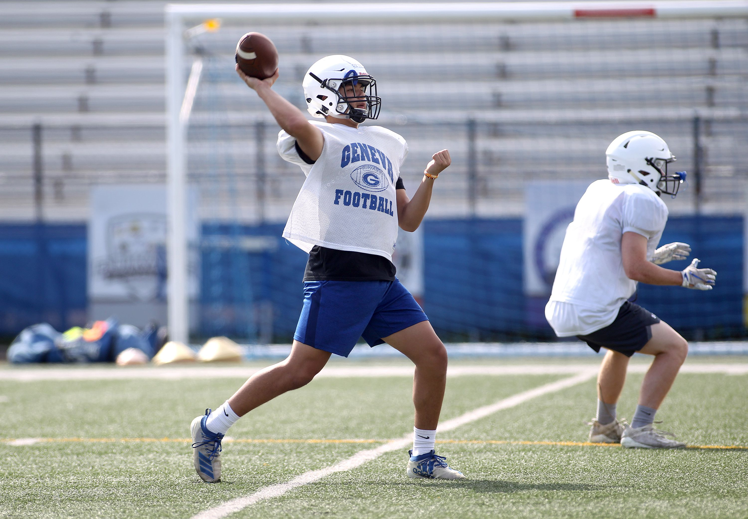 Geneva's Jackson Reyes throws the ball during a practice session at the school on Friday, July 9, 2021.