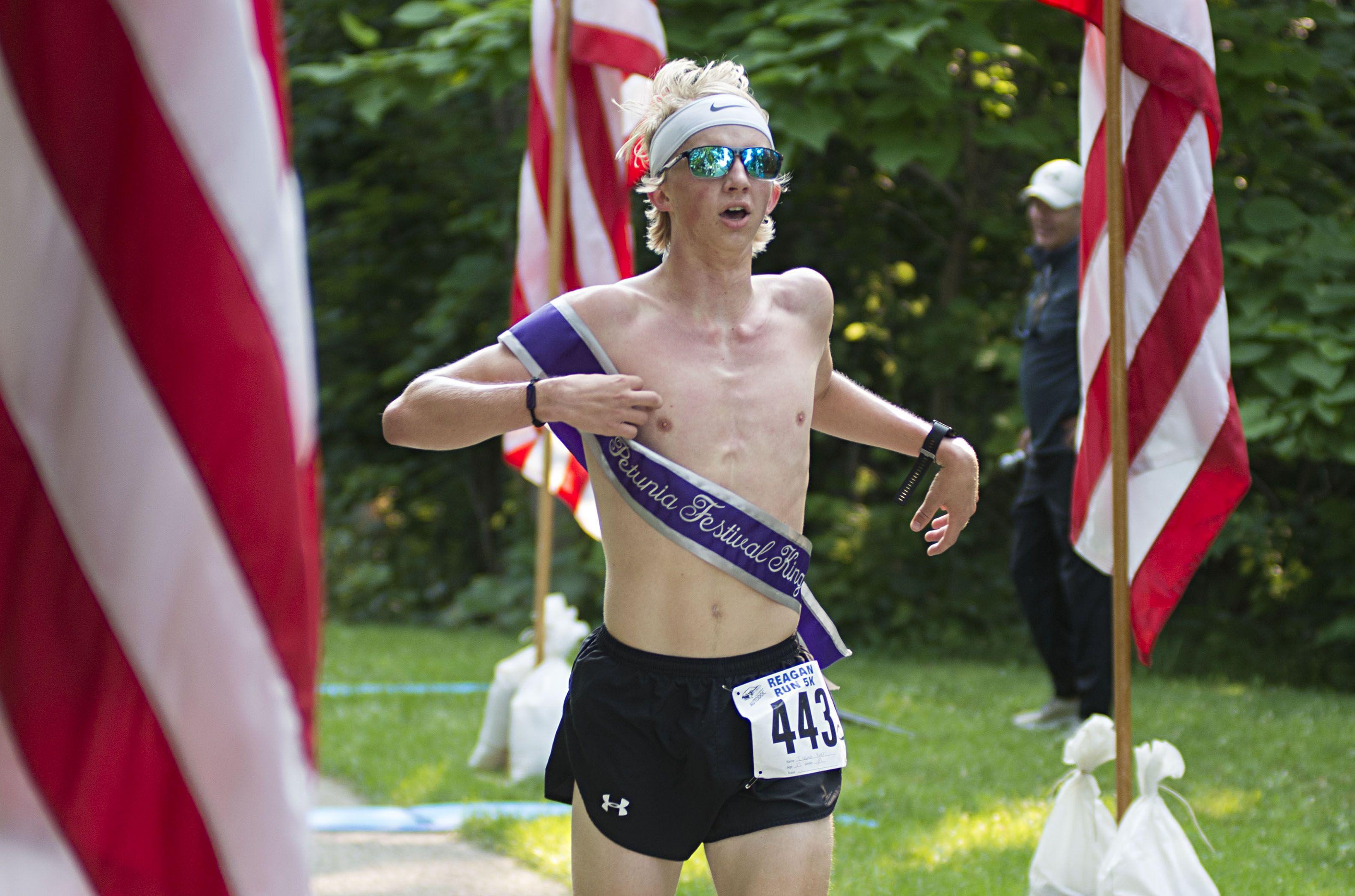 Isaiah Kuehl, the 2020 Petunia King, took 13th place during the Reagan Run.