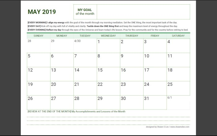 Goal Planner May 2019