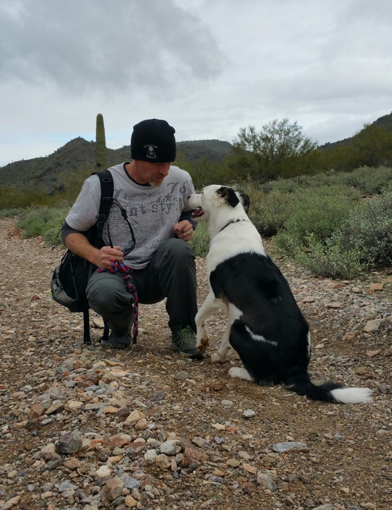 lance and I hiking