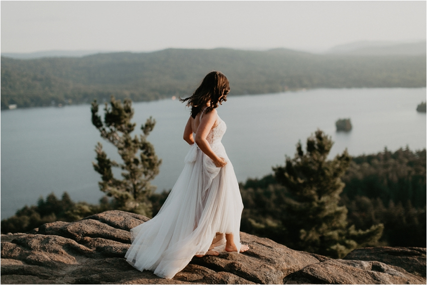 bride on top of rocky mountain