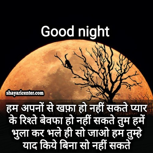 good night shayari image in english