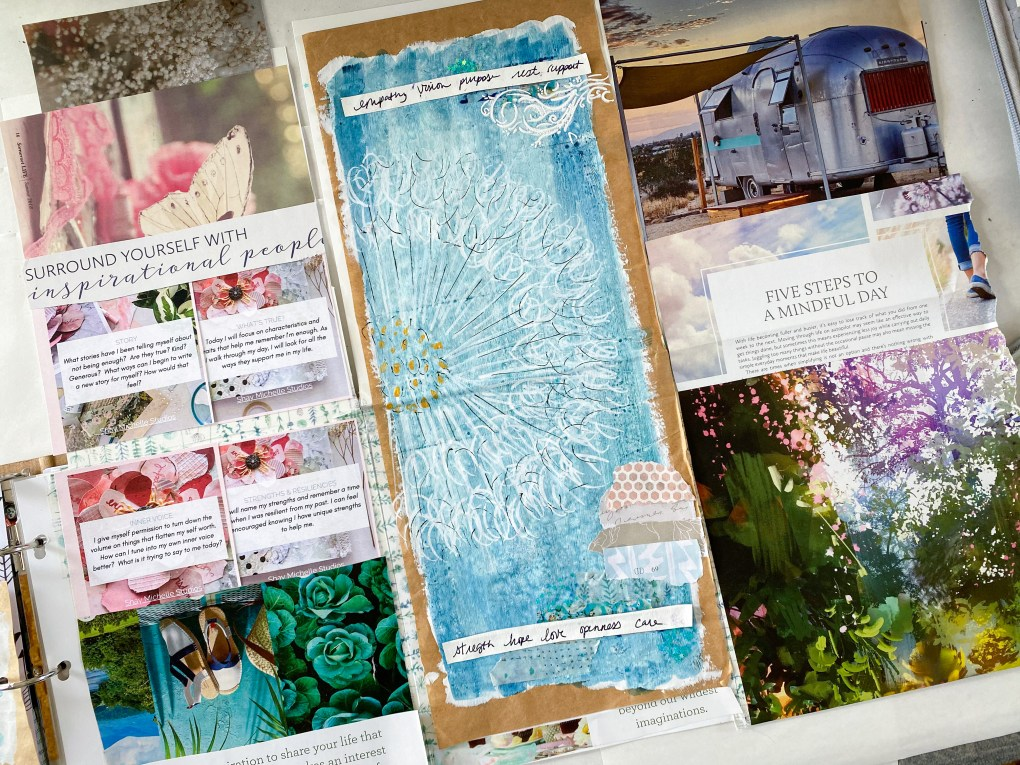 Vision board tip-in inside 3 ring binder notebook with a word of the year.