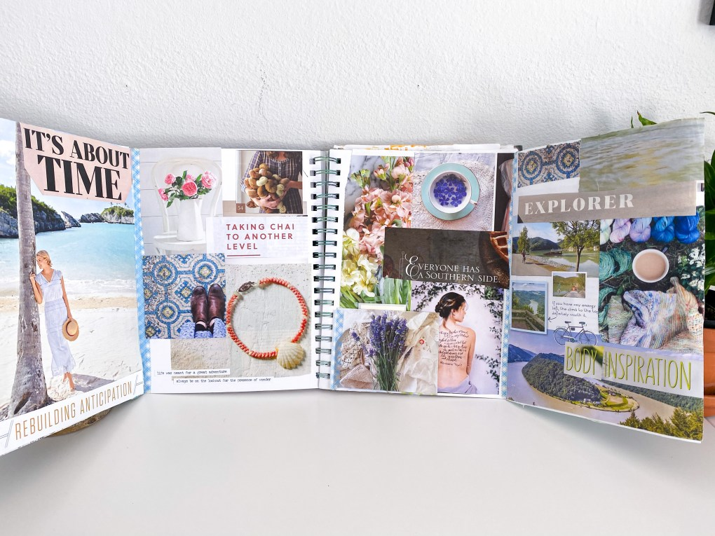 Open view of two tip-ins inside a spiral bound notebook with a vision board to show word of the year.