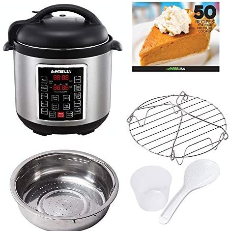 GoWISE USA GW22620 4th-Generation Electric Pressure Cooker with  steam rack, steam basket, rice scooper, and measuring cup, 6 QT