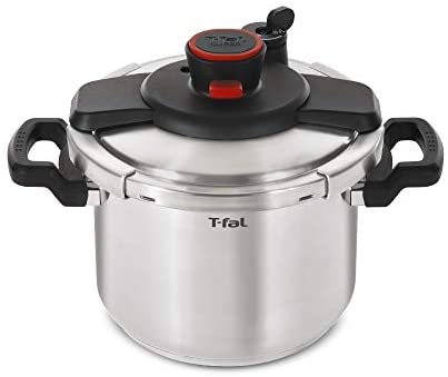T-fal P45009 Clipso Stainless Steel Dishwasher Safe PTFE PFOA and Cadmium Free 12-PSI Pressure Cooker Cookware, 8-Quart, Silver – 7114000494
