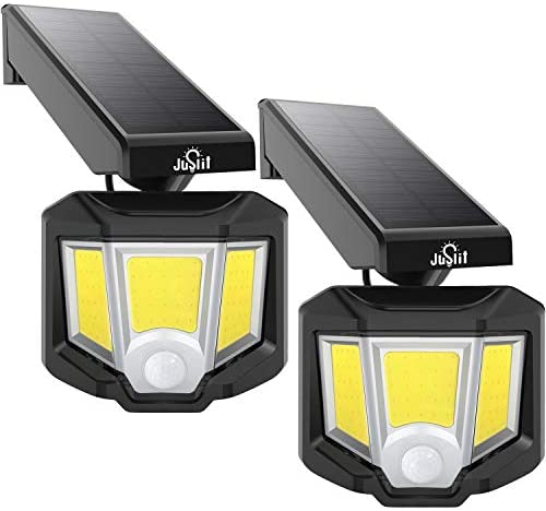 JUSLIT Adjustable Solar Lights Outdoor, 72 COB LED Motion Sensor Light, 360° Rotating Head Wide Angle Illumination, 2 Modes Wireless Security Wall Lighting, IP65 Waterproof