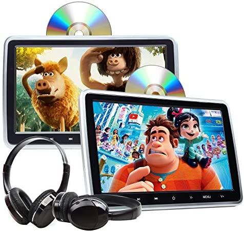 "2020 Newest Headrest DVD Player Car DVD Player 10.1"" Dual Car DVD Players with 2 Headphones Eonon C1100A for Kids Support Same/Different Video Playing/AV Out & in HDMI USB SD Port Touch Button"