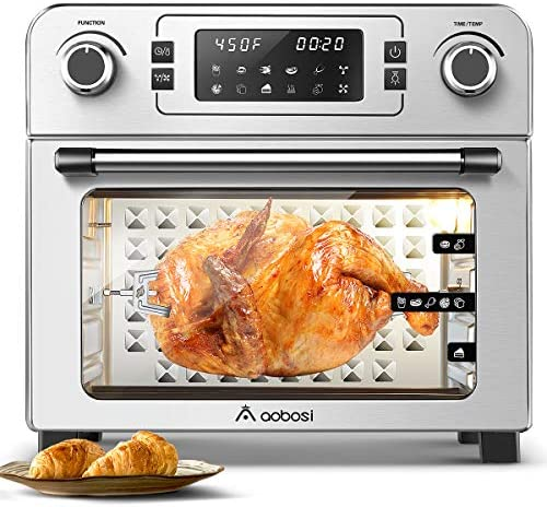 Aobosi Toaster Oven Air Fryer Oven Toaster Convection Oven Digital Countertop Rotisserie Oven Pizza Oven 10-in-1 Multi-Function Toast/Roast/Broil/Bake/Dehydrate|Large 24Qt|Recipe|1700W 16x13x16″