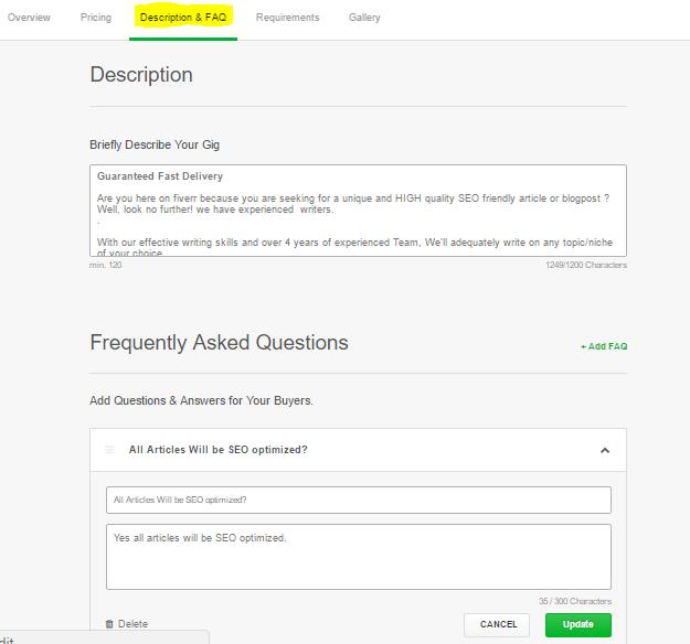 Description & FAQs of Fiverr