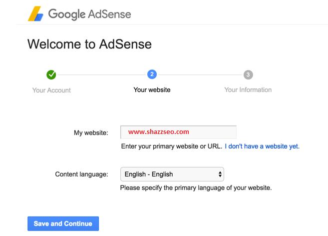 Google Adsense Website detail