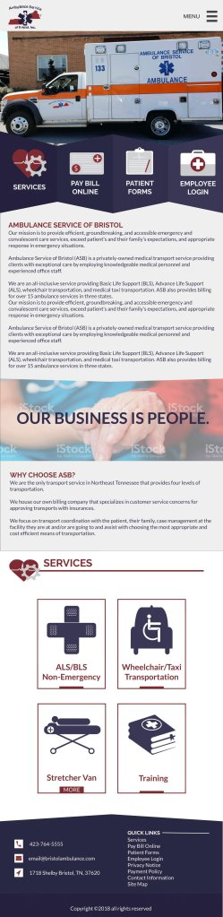 Responsive Web Design - Ambulance Service of Bristol Mockup