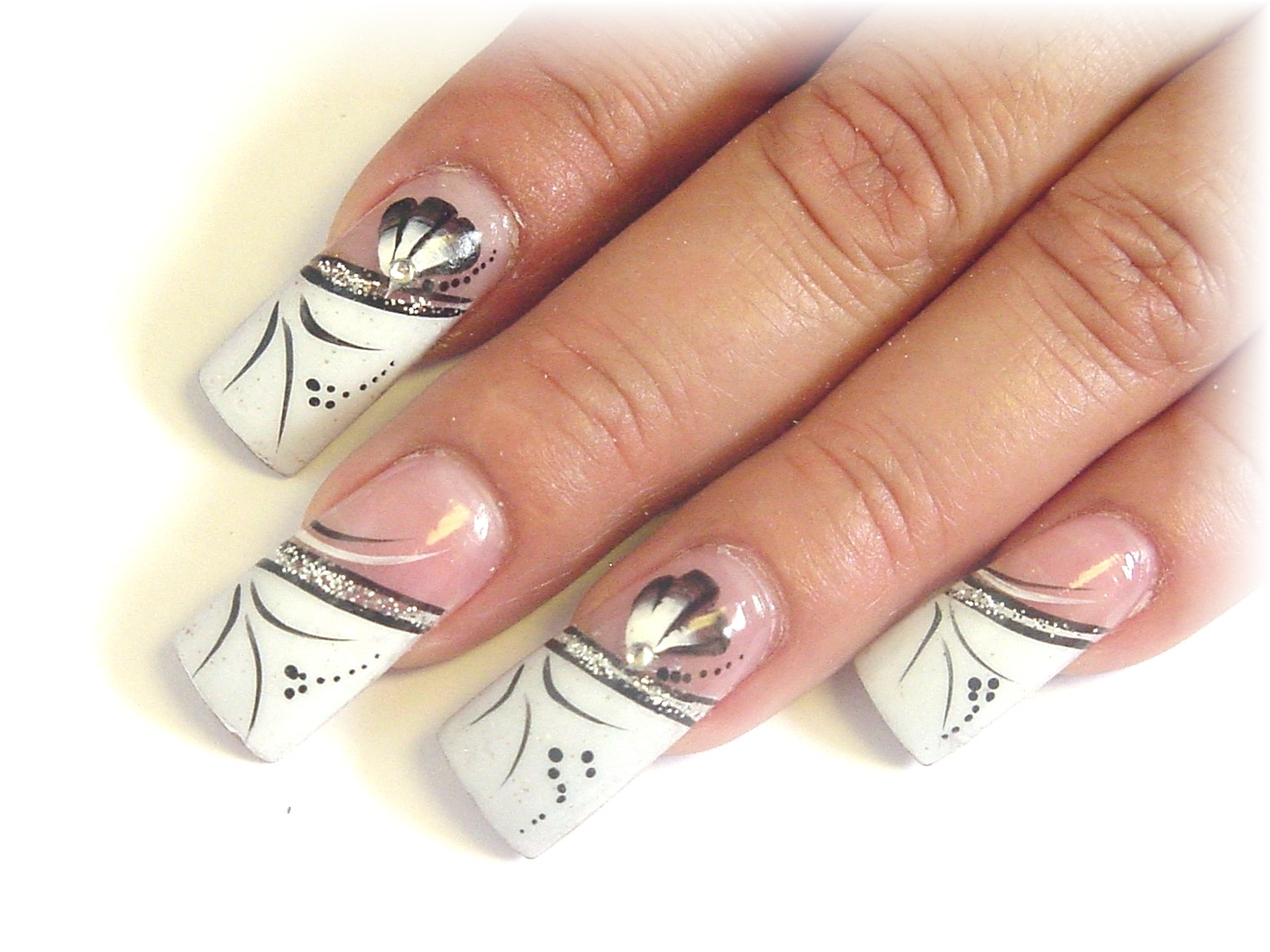 Are Easily Painted On Using A Long Striper Brush Every Other Nail Tiny Fans Enhance The Design Add Clear Acrylic Rhinestones For Added Bling