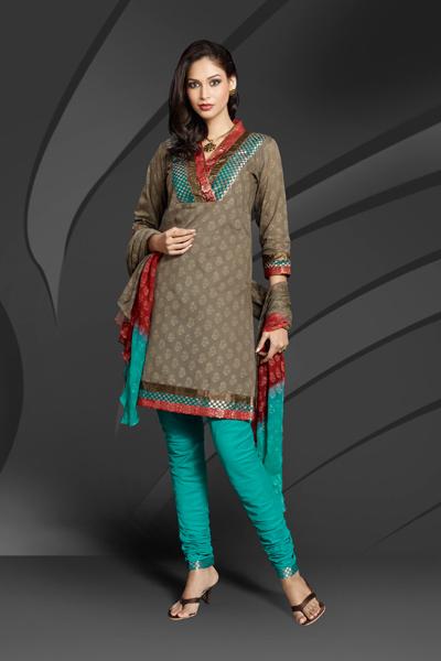 Printed Churidar Salwar Kameez Suit With Heel Shoes Or