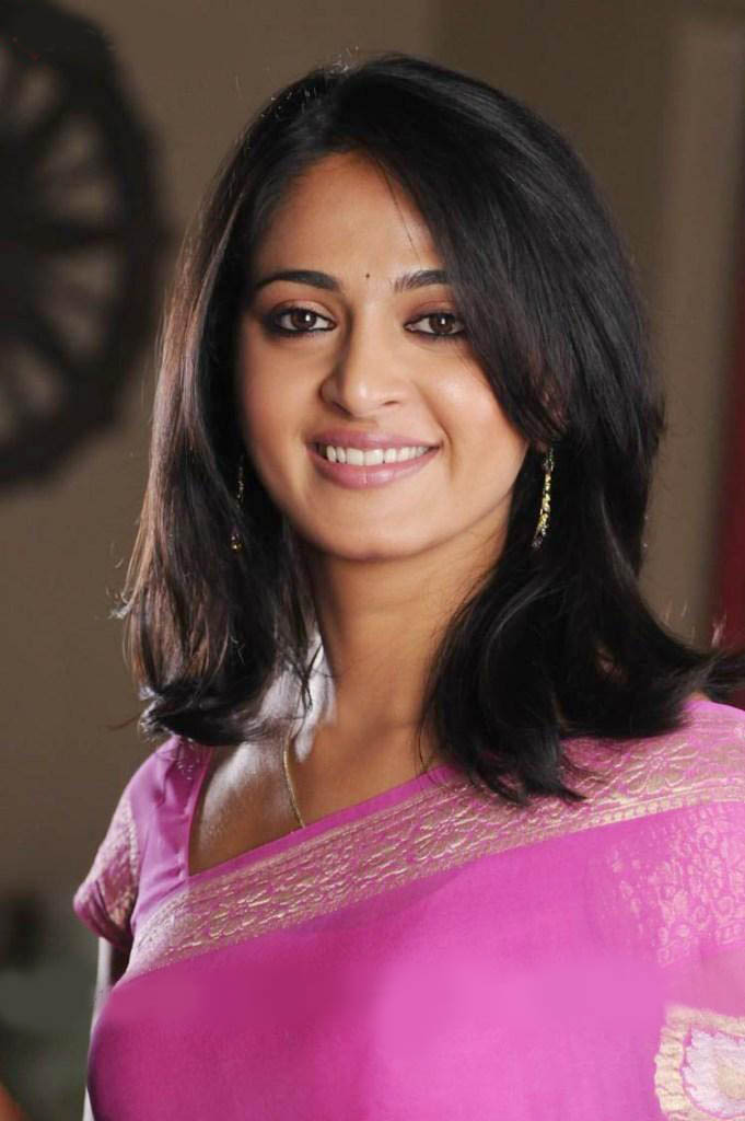 Anushka Shetty Short Hairstyle Purple Dress