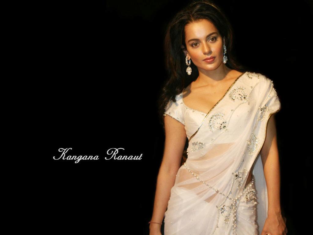 Kangana Ranaut White Fancy Saree