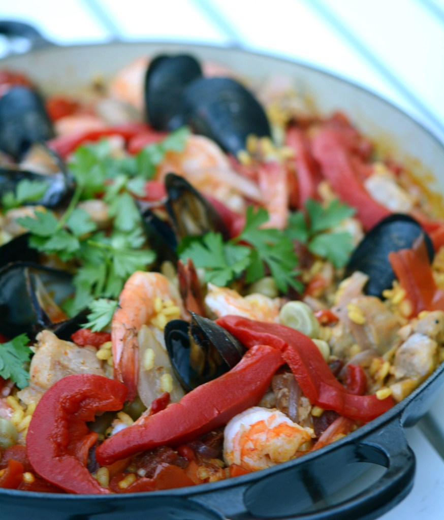 Paella with Shrimp, Mussels, Chorizo and Chicken