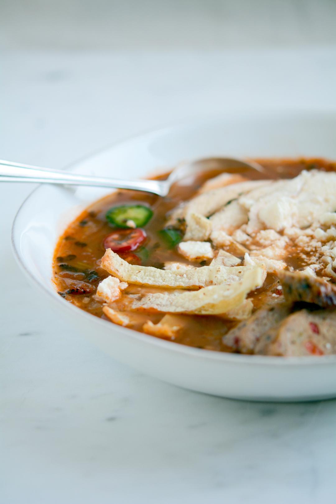 Tortilla soup in a bowl