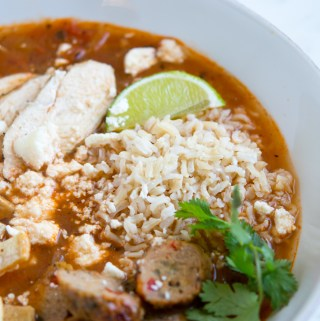 Overhead shot of bowl of tortilla soup