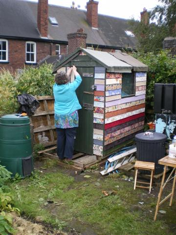 Sheds covered in fabric yes it happened for Garden shed quilting