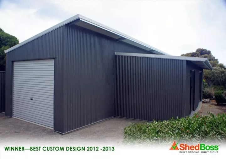 This stylish skillion shed features opposing pitched roofs with eve overhangs. A multi-purpose and versatile COLORBOND™ building accommodating a storage section, with a separate entertaining area with glass sliding doors.