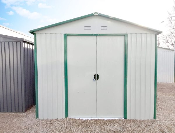 The 9ft x 10ft steel shed from Sheds Direct Ireland as seen straight on as an external view