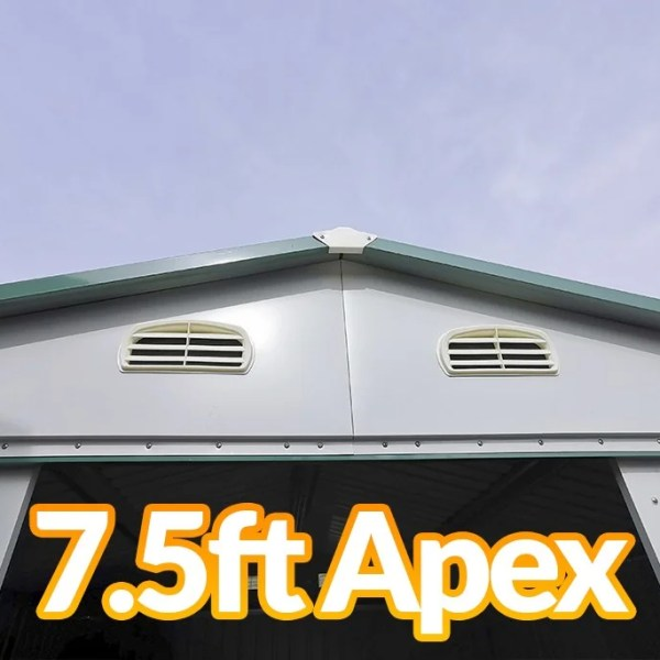 The Apex as seen from the outside of the 8x6 steel garden shed
