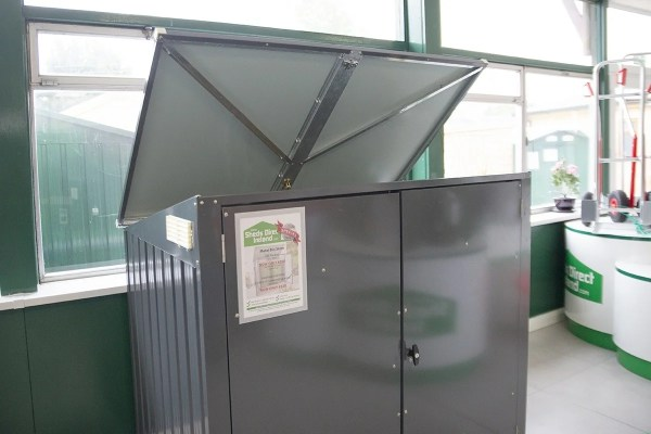 The bin store with the lid open