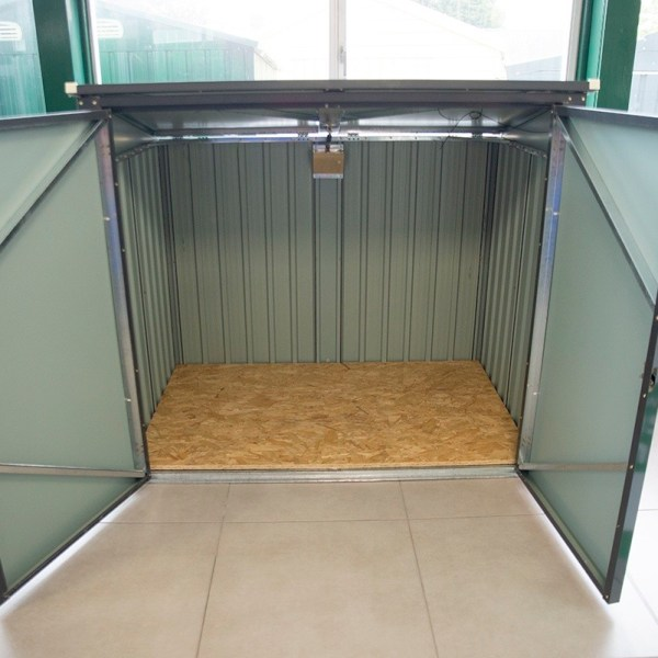 The bin store from Sheds Direct Ireland with the front Doors open