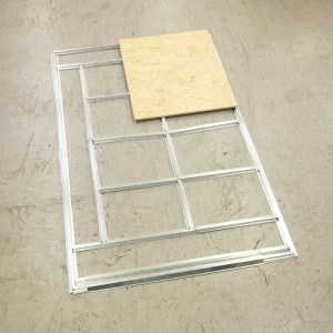 The Base Frame on the Steel Sheds from sHEDS dIRECT iRELAND, INCLUDING A piece of ply floor for reference