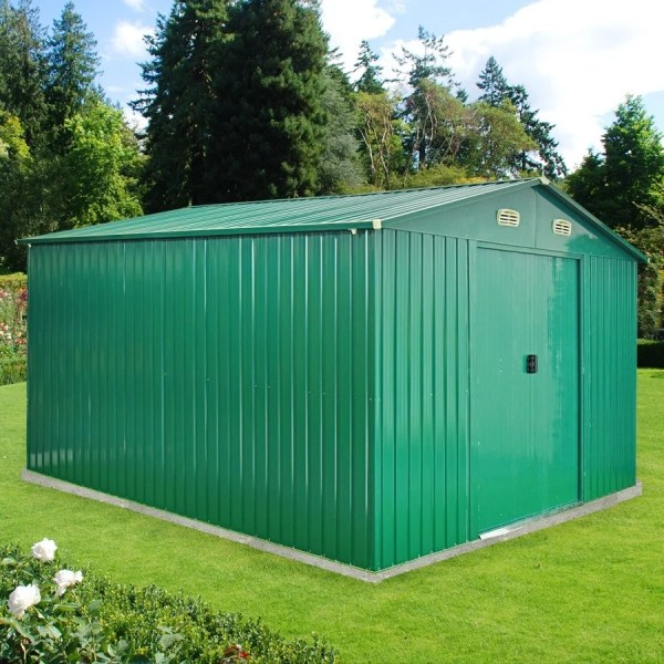 The Colossus Shed! 10ft x 12ft green steel shed from Sheds Direct Ireland