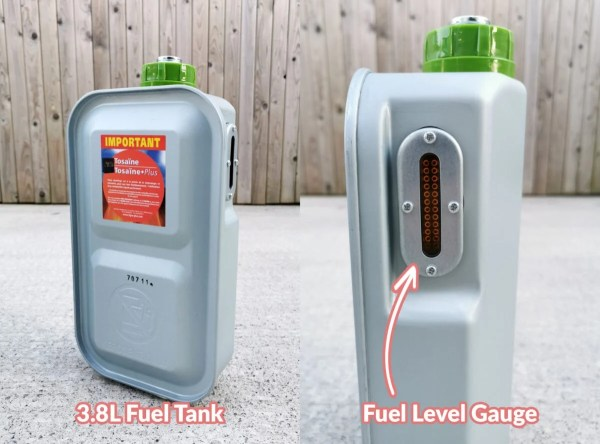 Details on the fuel tank. It shows the 3.8L capacity highlighted and there is a smaller photo which shows the fuel gauge to the side.