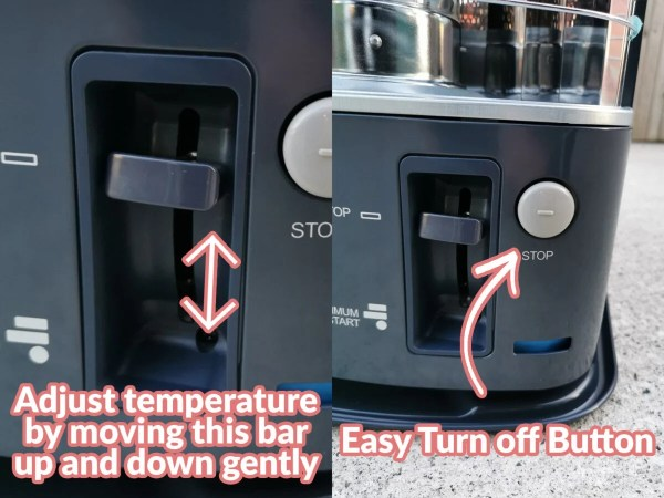 2 Photos side by side which show how to control the temperature and how to ignite the heater. It alos shows the large grey button which turns off the heater.