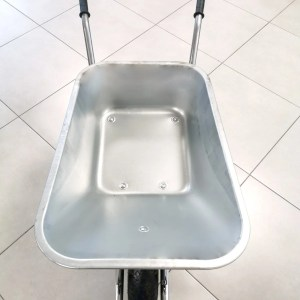 An above view of the Steel Wheelbarrow. The barrow is polished grey steel and the wheels and rubber hand guards are matching black.